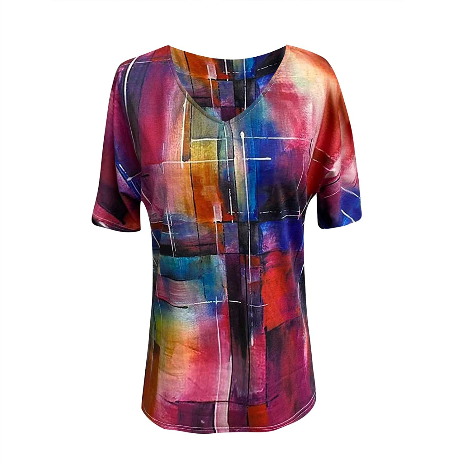 Womens Summer Tops,Women's Tees Casual V Neck Tops Cute Printed Loose Blouses Short Sleeve Tunic Shirts