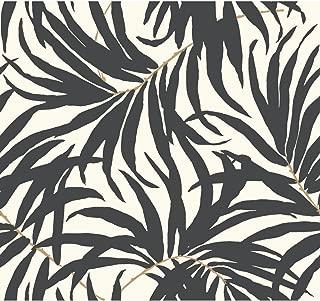 York Wallcoverings Tropics Bali Leaves Removable Wallpaper, Off Off White/Darkest Grey/Tan