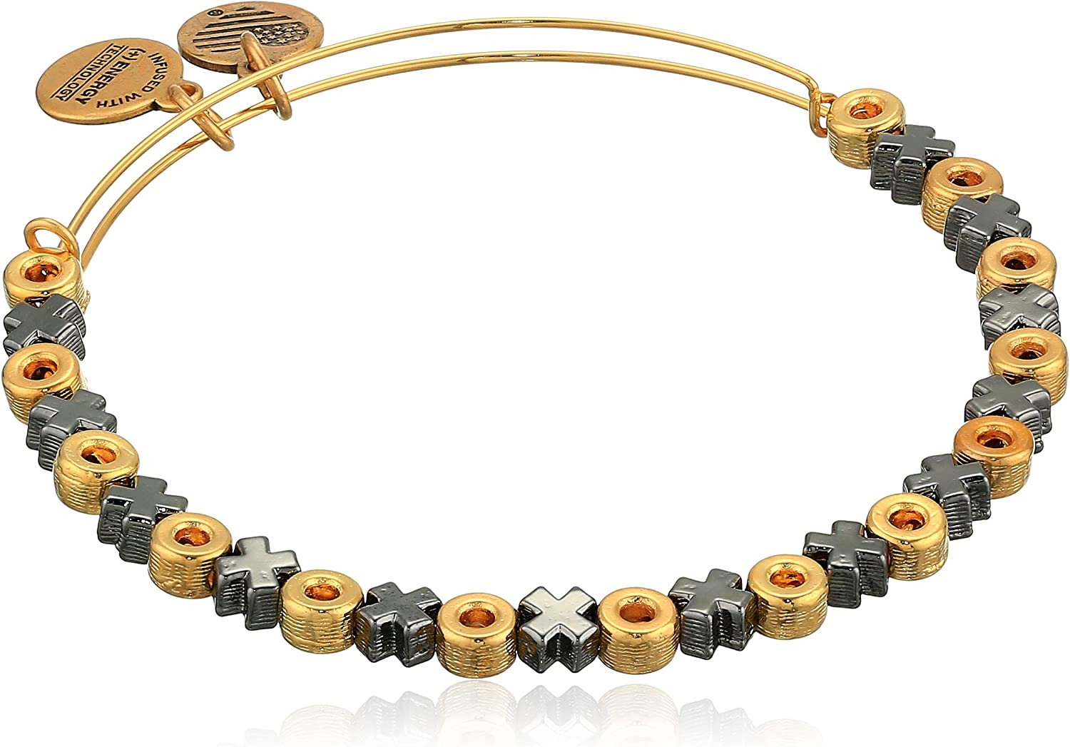 Alex and Ani Accents XO Hugs and Kisses Beaded Expandable Bangle for Women, 2 to 3.5 in