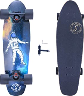 27in-Mini Cruiser-Skateboards for Kids-Teens Adults-Beginners - Complete Short Skate Board with 7 Layers Canadian Maple | Mini Skateboards for Boys and Girls(Crane)