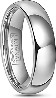 Crownal 4mm 6mm 8mm 10mm Tungsten Wedding Band Ring Men Women Plain Dome Polished Size Comfort Fit Size 3 To 17