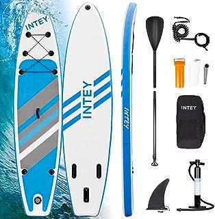 INTEY Tabla Paddle Surf Hinchable 320×76×15cm, Sup Paddle Remo Ajustable, Tabla Stand Up Paddle Board, Bomba de Doble, Seg...