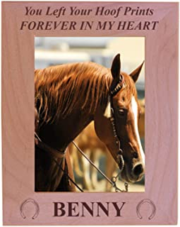 You Left Your Hoof Prints Forever in My Heart - Custom Engraved Alder Wood Picture Frame - Add Your Horses Name (5x7 Vertical)