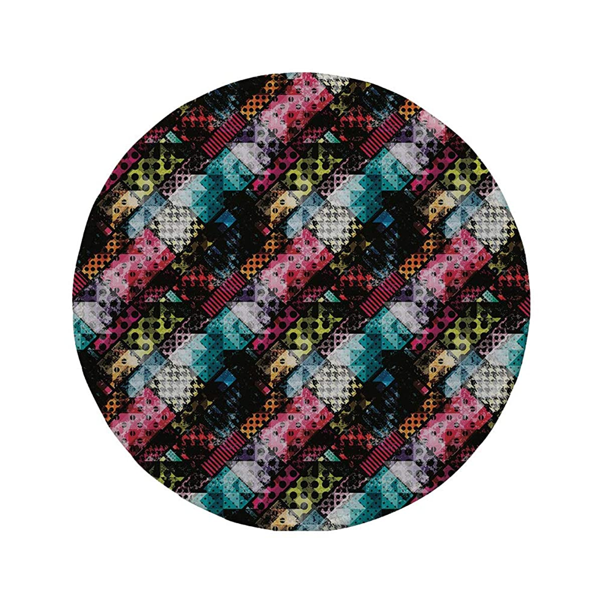 Non-Slip Rubber Round Mouse Pad,Abstract,Grunge Modern with Polka Dots Tartan Murky Toned Effects Diagonals Kitsch Pattern Decorative,Multicolor,7.87