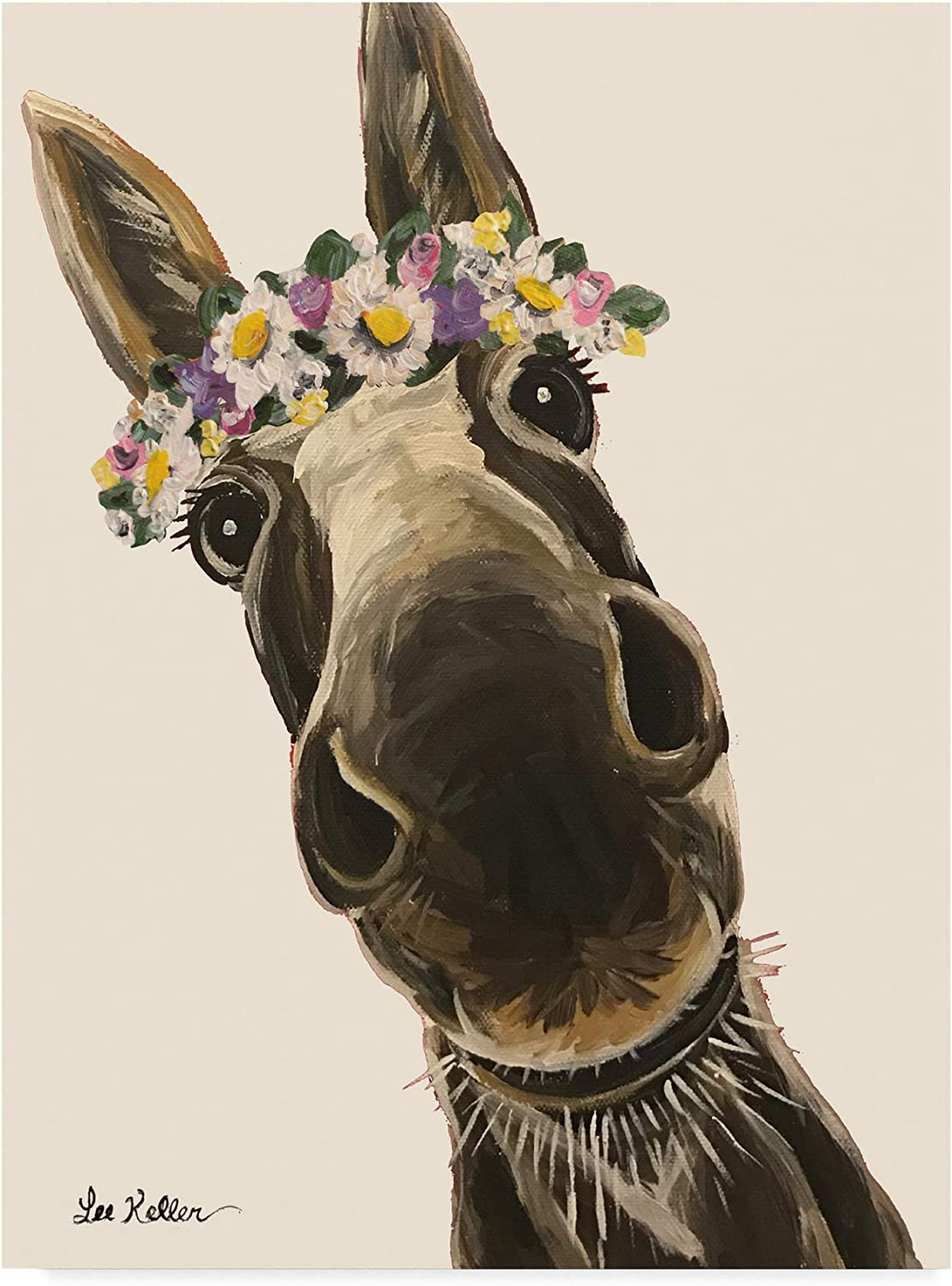 Trademark Fine Art Donkey Snickersflower Crown Cream by Hippie Hound Studios, 14x19