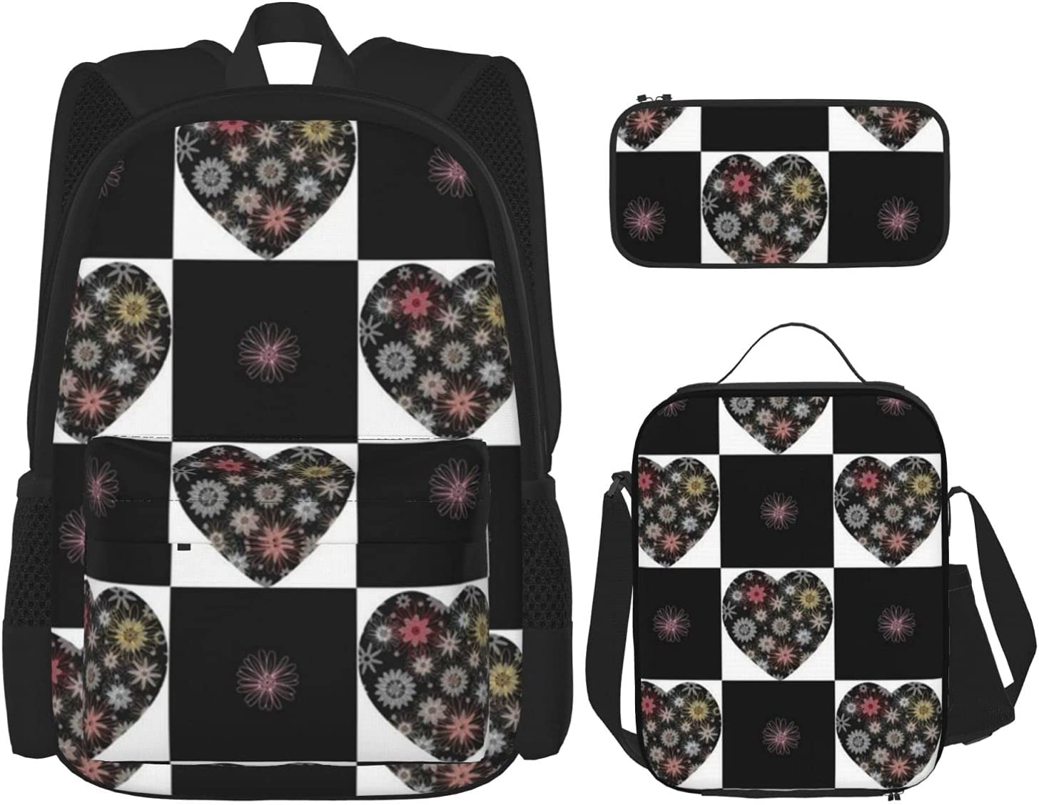 Backpack Girls Boys Black Max 90% OFF Hearts Tulsa Mall Squares Bag Cute 1 3 in Backpac