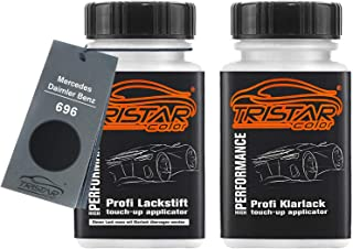TRISTARcolor Autolack Lackstift Set für Mercedes/Daimler Benz 696 Nachtschwarz/Nachtzwart Basislack Klarlack je 50ml