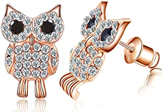 Buyless Fashion Owl Design Stud Earrings for Women And Girls with Rhinestone Crystal and Sparking Ziconia
