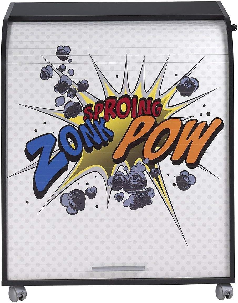 Zonk Pow 400 SIMMOB Meuble Informatique Noir /à roulettes Rideau Imprim/é Bois Coloris