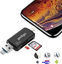 geekgo SD Card Reader,Micro SD TF USB Memory Card Reader Trail Game Camera Adapter Viewer for iPhone iPad iOS Android Mac - Supports Micro USB OTG 3 in 1 (Black)