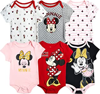 Disney Baby Girls 6 Pack Short Sleeve Bodysuits – Minnie, Ariel, Winnie The Pooh, Nemo (Newborn/Infant)