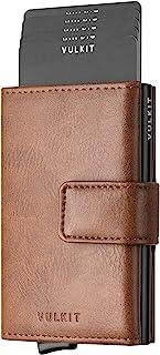 VULKIT Credit Card Holder RFID Blocking Pop Up Leather Slim Mens Women Wallet with Banknote Pockets Aluminum Card Holder