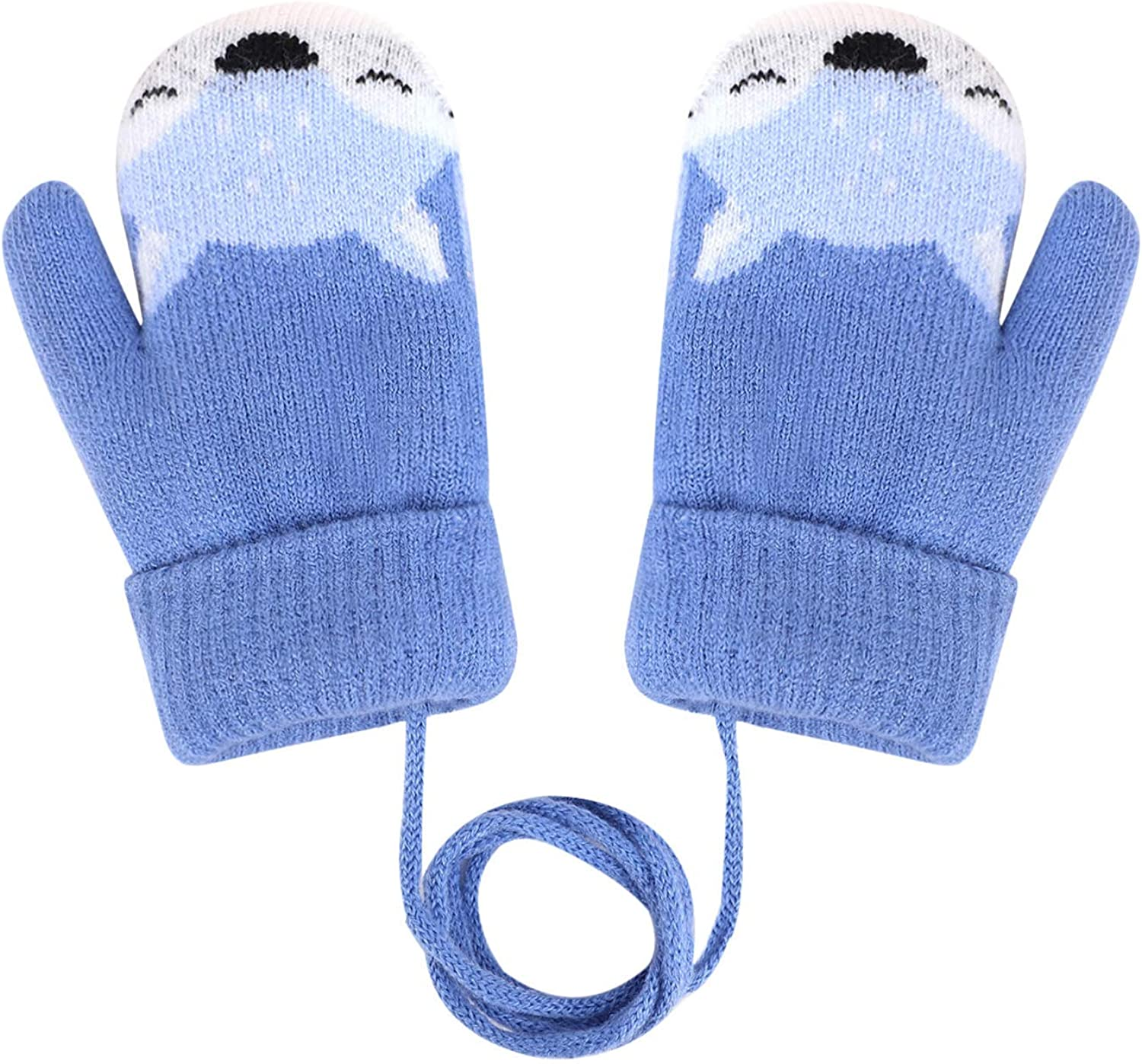 Kids Toddler Winter Warm Knitted Gloves Plush Lined Thicken Thermal Mittens with String Outdoor Hand Wear 0 to 4 Years Old