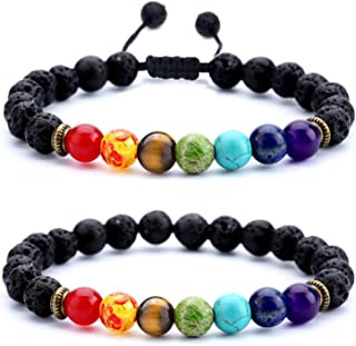 Hamoery Men Women 8mm Lava Rock 7 Chakras Aromatherapy Essential Oil Diffuser Bracelet Braided Rope Natural Stone Yoga Beads Bracelet Bangle-21004