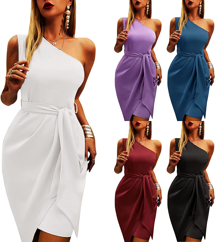 JUNLIN Long Maxi Dress Tank Asymmetrical Elegant Inclined Shoulder Sleeveless Belt Party Polyester