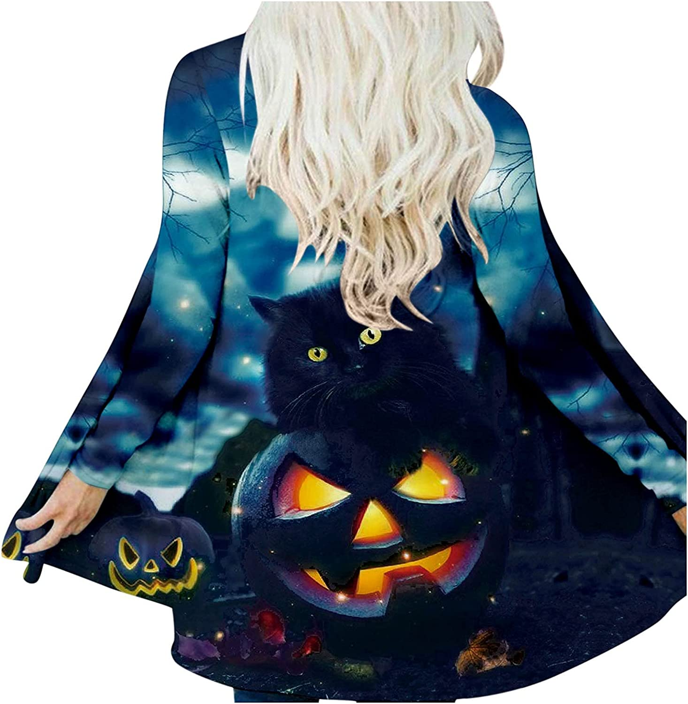 Women's 2021 Halloween Open Front Cardigan Long Sleeve Tunic Blouse Funny Cute Pumpkin Black Cat Ghost Graphic Coat Top