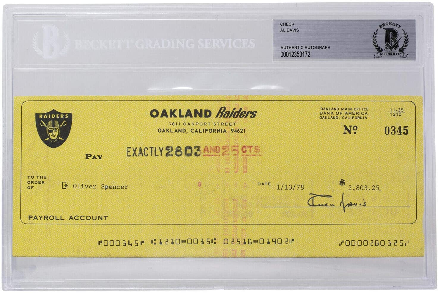 Al Davis Autographed Signed Oakland #0345 BG Recommended Financial sales sale Check Bank Personal