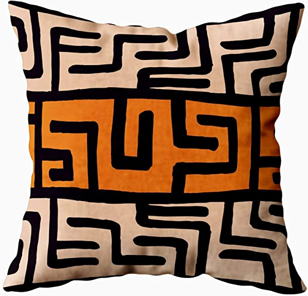EMMTEEY Abstract Pillow Covers 16x16 Pillow Covers Home Throw Pillow Covers Abstract Geometric Chevron Ethnic Colorful Bohemian Pattern With Elements African Mud Square Double Sided Printing