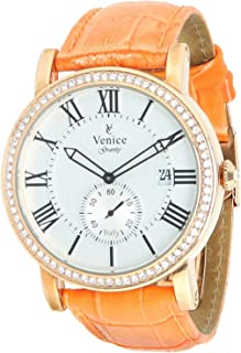 Venice F5011-IPR-OR Crocodile Embossed Leather Stones Embellished Bezel Round Analog Watch for Women - Orange