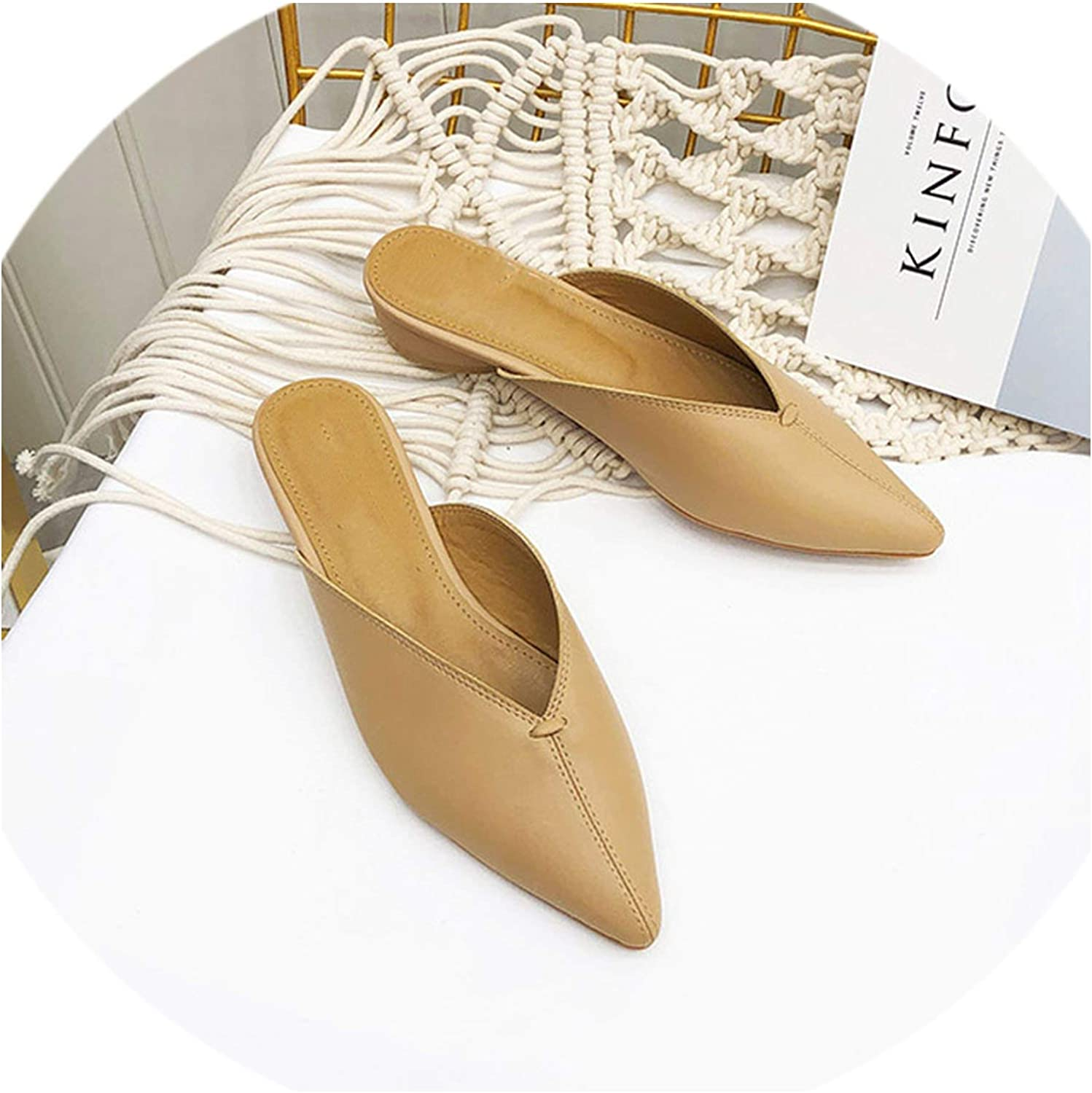 Sewing Mules Woman Low Heels Slippers Casual Pointed Toe Slides