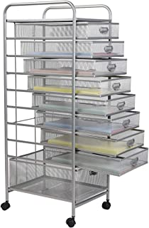 Metal Mesh 9 Drawer Rolling Cart Storage Organizer File Basket Cart Office&Home Cabinet-Silver