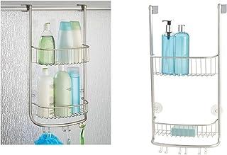 iDesign Organizador de ducha para colgar, pequeña estantería colgante de metal con 2 baldas y 3 ganchos dobles, cesta de ducha para la cabina de ducha, plateado