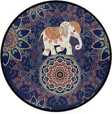 Panorama Tapis Du Sol Vinyle Carreaux De Ciments Bleu Rond