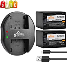 NP-FH100 Pickle Power (x2) Batteries and Dual Slots USB Charger Compatible with Sony DCR-SR47, DCR-SR62, DCR-SR65, DCR-SR67, DCR-SR82, DCR-SR85, DCR-SX40, HDR-CX7, HDR-CX12, HDR-HC3. (3900mAh, 7.2V)