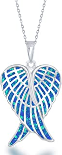 Sterling Silver Double Angel Wings Heart/Silver or Rose Tone Created Blue/White or Pink Opal Angel Wings 18