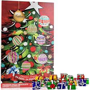 Madelaine Chocolate Christmas Tree Countdown Advent Calendar, Filled with (8 oz - 226 g) Solid Premium Milk Chocolate Presents (1 Pack)