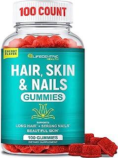Hair Skin and Nails Gummies with High Potency Biotin 5000mcg | Tasty Cherry Hair Vitamins for Women Men and Kids | Gluten ...