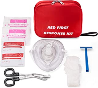 AED Emergency First Aid Kit Include CPR Rescue Mask Pocket Resuscitator with One Way..