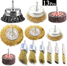Esoca 13Pcs Wire Wheel Brush Knotted & Crimped Wire Cup Wheels Brush & Carbon Knot Wire Drill Brush Set with 1/4-Inch Shank For Rust Removal, Corrosion and Scrub Surfaces