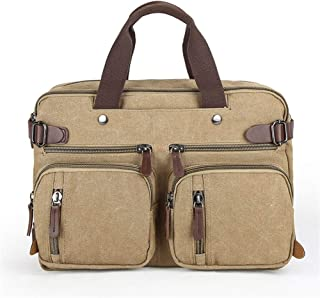 ZCLADLY Canvas Bag Large-Capacity Briefcase Portable Slung Backpack Travel Bag (Color : Khaki)