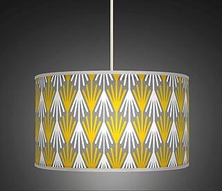 50cm 50,8cm Jaune moutarde Gris Rétro fait main géométrique Motif style lampe abat-jour tambour en tissu imprimé sol ou plafond Pendentif abat-jour 461Lot de 3