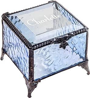 Personalized Gift for Women Girls Engraved Blue Glass Box Decorative Vanity Jewelry Display Storage Organizer Keepsake Vintage Decor Clear Blue J Devlin Box EB217-1 (Blue)