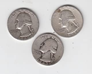 1943 P, D, S Washington Silver Quarters (3) Coins All 3 Mint Marks Circulated Very Good
