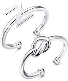 JOERICA 2 Pcs 925 Sterling Silver Initial Ring for Women Letter Knot Adjustable Knuckle Rings Best Friend Jewelry Gift