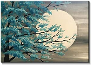 Modern Canvas Tableau - Tree And Moon, 100 cm x 70 cm