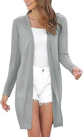 MessBebe Cardigan Mujer Largos Camisa Chica Rebeca Largo Sexy Chaqueta de Punto Delgada para Mujer Fiesta Casual Citas Primavera Verano Otoño
