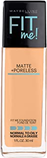 Maybelline Fit Me Matte + Poreless Liquid Foundation Makeup, Natural Buff, 1 fl. oz. Oil-Free Foundation