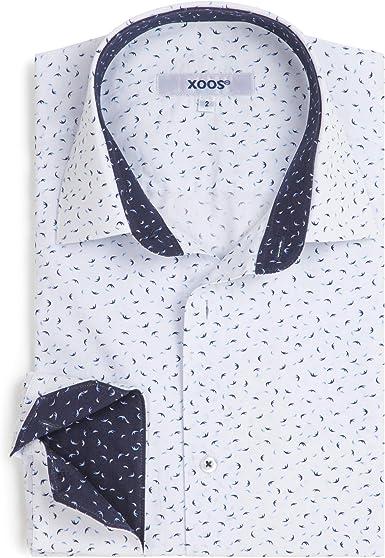Xoos Paris – Camisa de Vestir Estampada para Hombre, Manga ...