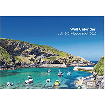 2021-2022 Wall Calendar - 18-Month to View Calendar with Coastal Scenes, Jul 2021 to Dec 2022 for Organizing & Planning, 29.5 X 42 cm(Open)