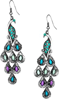 Best silver peacock feather earrings Reviews