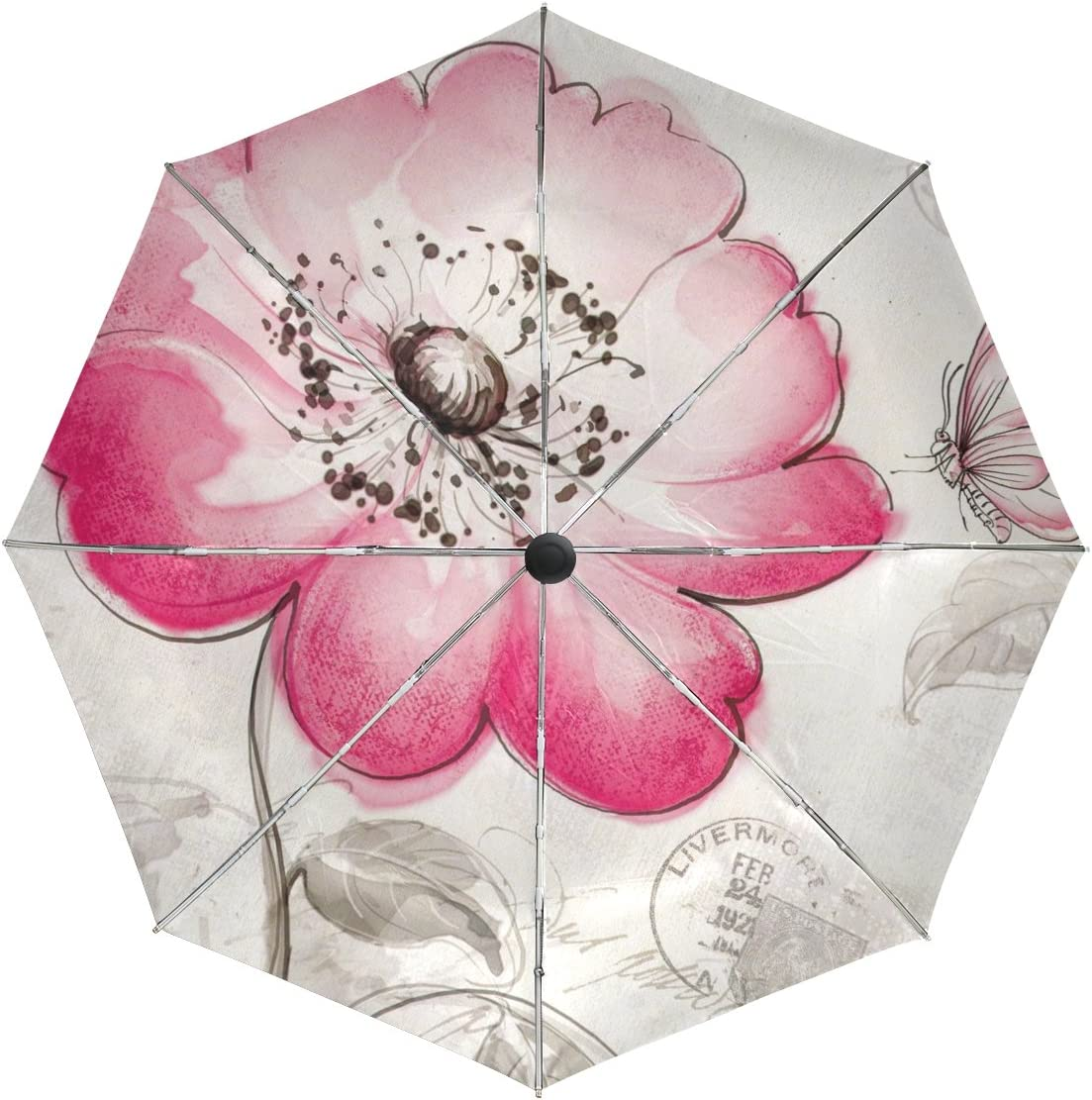 baihuishop Flower Butterfly Windproof Auto Open Cheap Umbrellas Close Excellence