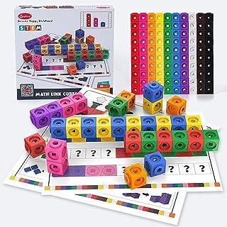 Onshine Math Link Cubes with Activity Cards Set, Math Blocks Kids Toy, Early Math Skills, Mathlink Cube Manipulatives, 144...