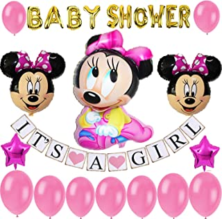 Minnie Mouse Baby Shower Decoration for girl pink Party Decoration/Baby Girl Banner/Baby Minnie Balloon