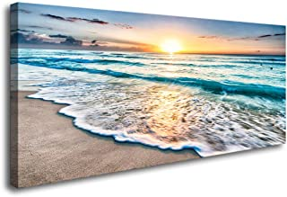 Baisuart S02250 Canvas Prints Wall Art Beach Sunset Ocean Waves Nature Pictures Stretched Canvas Wooden Framed for living Room Bedroom and Office