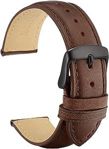 WOCCI Vintage Bracelet de Montre en Cuir avec Boucle Noire, Sangles de Rechange pour Hommes 18mm 19mm 20mm 21mm 22mm 23mm 24mm