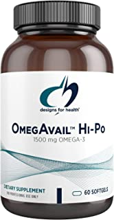 Designs for Health OmegAvail Hi-Po - TG (Triglyceride) Omega-3 Fish Oil Supplement, 1500mg EPA/DHA per Serving with Lemon ...